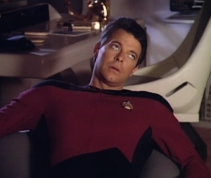 First Season Riker rolls his eyes at me. Sorry, Beardless Riker, we can't all have orgies on Risa!