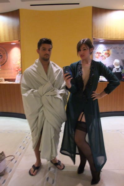 This was my favorite cosplay at ConnectiCon – which, believe me, had some stunning and beautiful cosplay. But look at that – that's Sherlock Holmes in a bedsheet and Irene Adler in her lingerie. It's so wickedly clever, and I loved it.