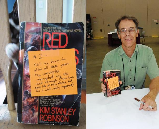 Single-author books are a bit easier. That's Kim Stanley Robinson, who was very nice about me fucking up the first photo and having to re-take.