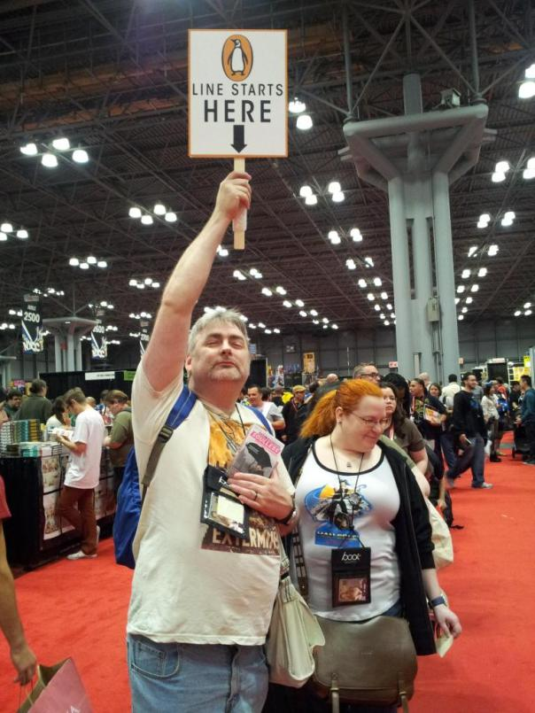 That's the start of the line, brilliantly played by my friend Rob. Rachel is right behind him. If you want to learn how to come home from a convention with sixty-five free books, learn from the masters, grasshopper. Photo generously provided by Richard Shealy, SFWA-registered copyeditor