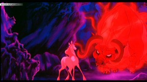 The Last Unicorn facing down The Red Bull.