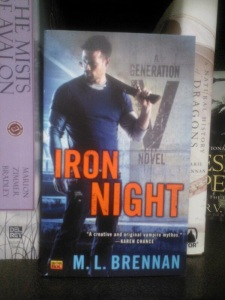 That's Iron Night on the shelves of a bookstore! This photo is courtesy of The Qwillery, where presumably a team of huskeys raced through the icy winds to make it to the bookstore.
